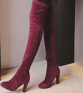 New Faux Suede Slim Boots Sexy Over The Knee Women Fashion Winter High Boots