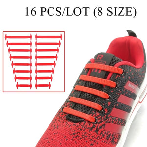 Silicone Athletic Elastic Shoe Lace 16Pcs/Set