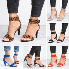 Load image into Gallery viewer, Women's stiletto Leopard High Heels Sandals
