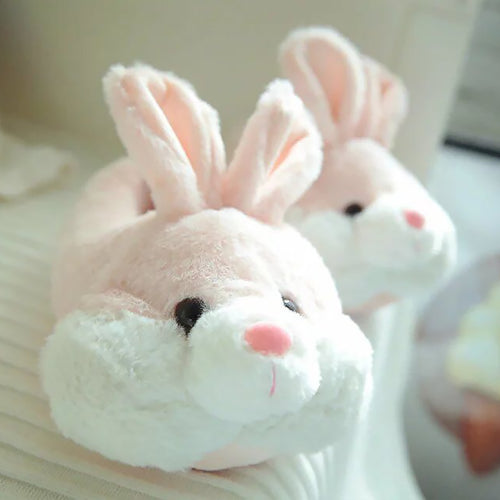 Cute Cozy Plush Women Rabbit Slippers