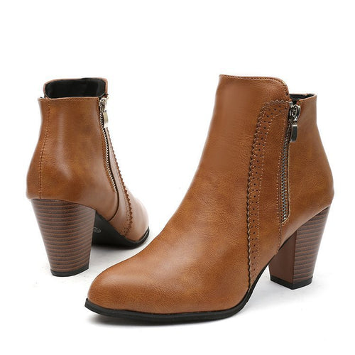 Women Ankle Boots Fashion Leather Boots High heel Side Zipper Short Boots