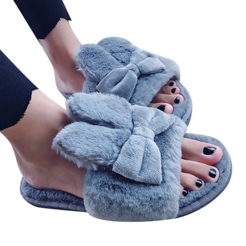 Women Slippers Bunny Ear & Bow Fur Slippers Flip Flops Fluffy Plush Comfortable