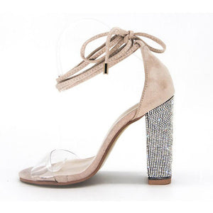 Women Rhinestone Ankle Strap Super High Heels Square Heels Lady Size 3-12