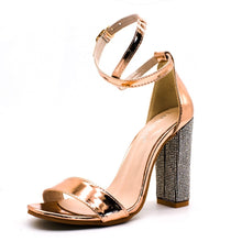 Load image into Gallery viewer, Women Rhinestone Ankle Strap Super High Heels Square Heels Lady Size 3-12