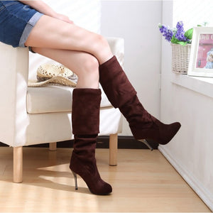 Women Nubuck Leather sexy over the Knee Stovepipe long boots