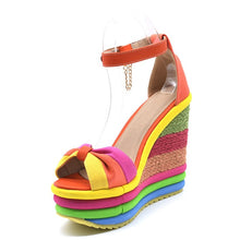 Load image into Gallery viewer, Summer Sexy Bohemian Peep Toe Wedges
