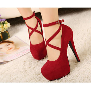 Womens Fashion Suede Super High-heeled Buckle Strap Shoes