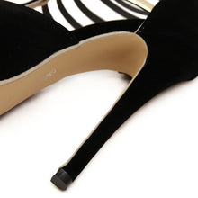 Load image into Gallery viewer, Ankle Strap Heels Metal Sandals Platform Black Red High Stiletto Heels Back Zip Closure