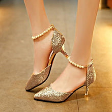 Load image into Gallery viewer, Sexy Pointed-toe Pearl Thin Gold Heels