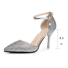 Load image into Gallery viewer, Ankle Strap Buckle Women's Crystal Bling Elegant Wedding Thin High Heels Gold