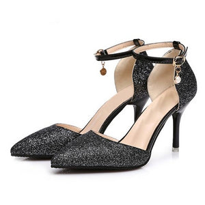 Ankle Strap Buckle Women's Crystal Bling Elegant Wedding Thin High Heels Gold