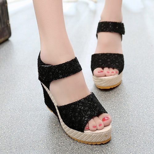 Fashion Lace Hollow Gladiator Wedges
