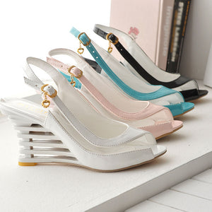 Women Ankle Strap Buckle Open Toe High Wedge Shoes
