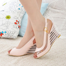 Load image into Gallery viewer, Women Ankle Strap Buckle Open Toe High Wedge Shoes