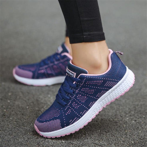 Breathable Mesh Lace Up Flat Sneakers