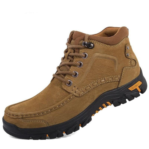 Genuine Leather Lace Up 38~47 Men Boots Plush Warm Winter Men Shoes Big Size Anti Skidding Outdoor Shoes Men