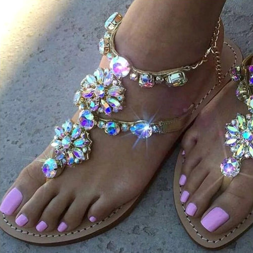 Rhinestone Chains Thong Gladiator Flat Sandals