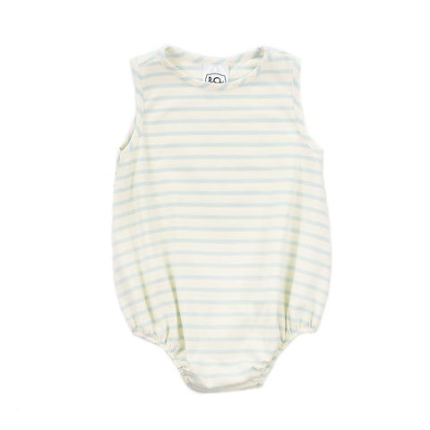 sleeveless knit baby boy bubble // baby blue stripe