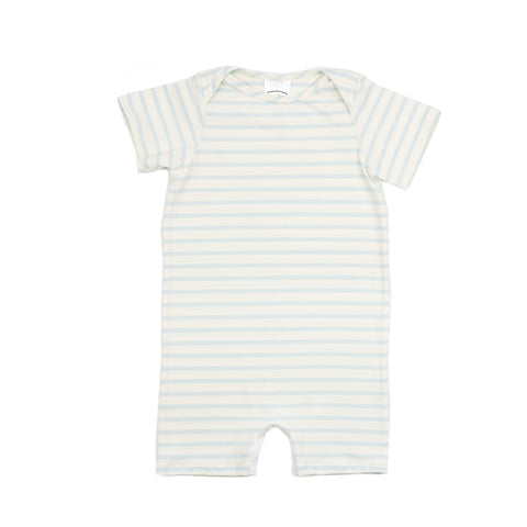 woody baby knit romper // baby blue stripe