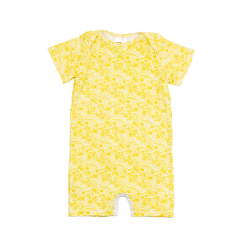 willow baby knit romper // yellow floral