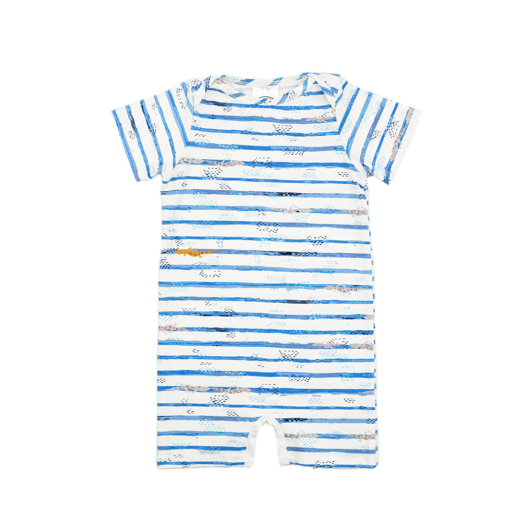 woody baby knit romper // dark blue stripe