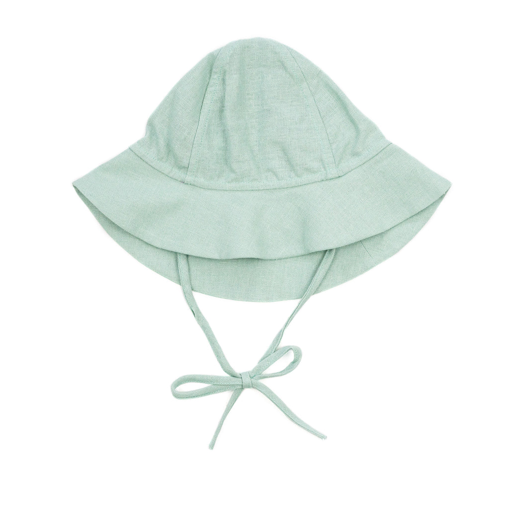 leigh baby sun hat // turquoise linen