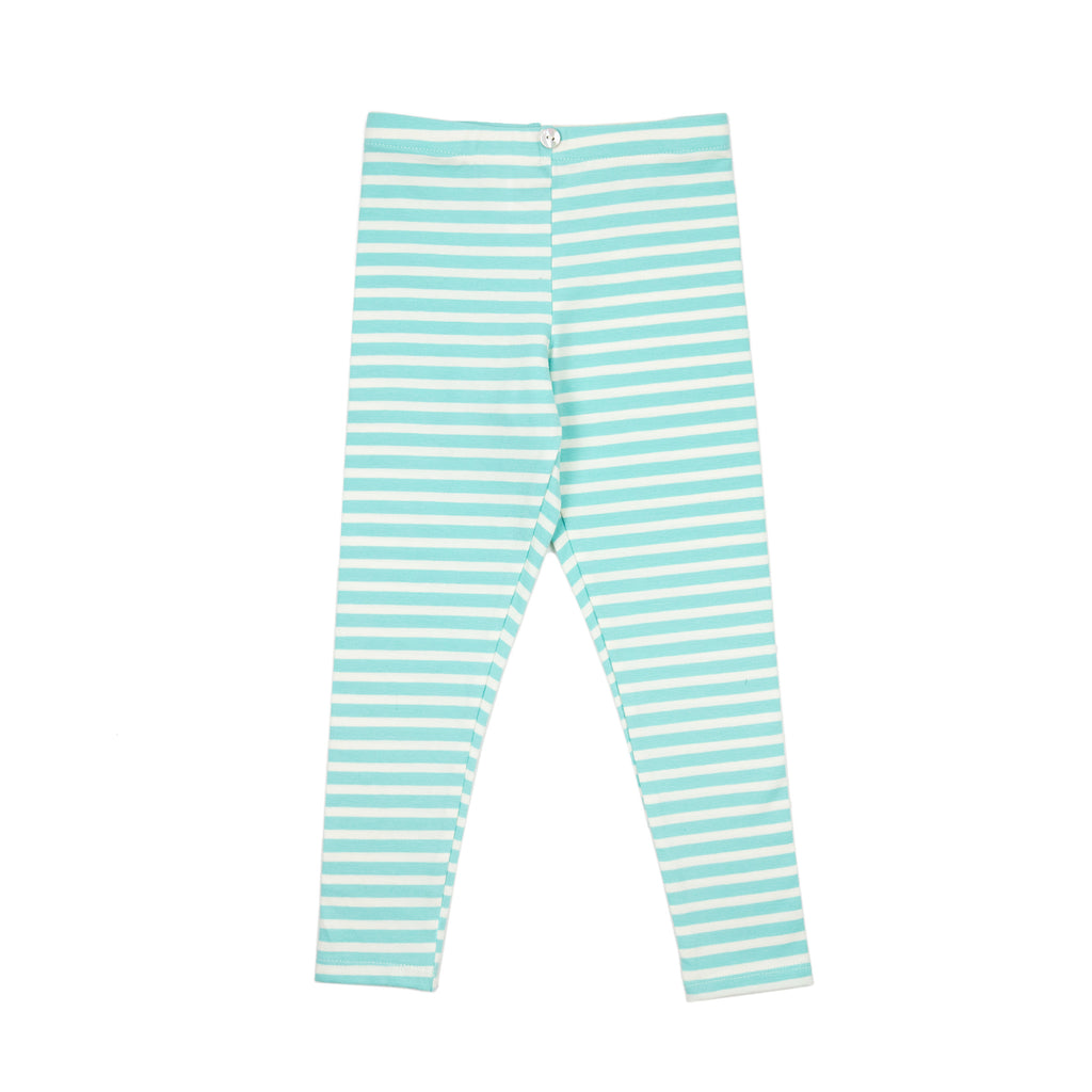 lulu full length legging // teal stripe