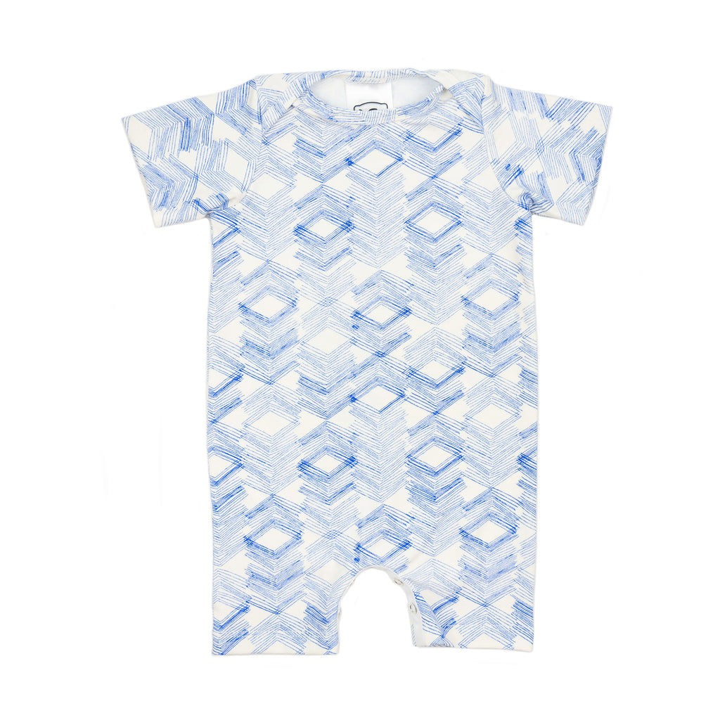 woody romper // blue triangles
