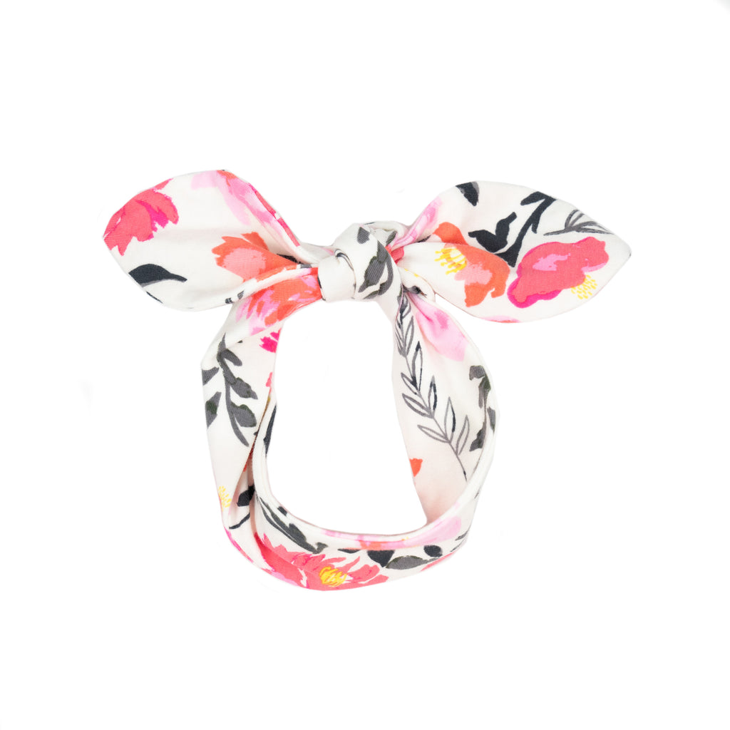 fabric knot headband // pink floral