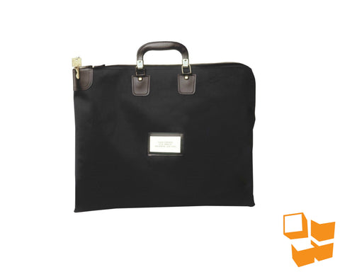 "Briefcase-Style Locking Courier Bag - 16"" x 20"" - Black"