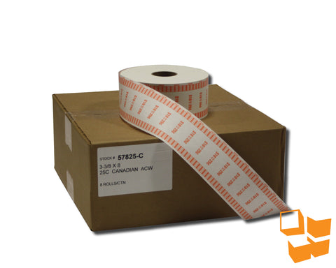 25₵ Canadian Standard Automatic Coin Wrap - 8 rolls/carton