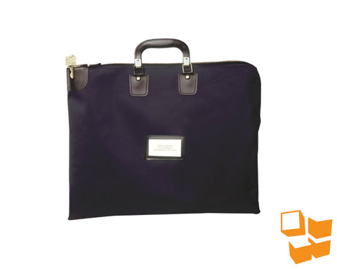 "Briefcase-Style Locking Courier Bag - 14"" x 18"" - Navy Blue"