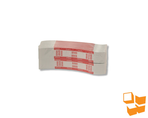 "1.25"" White Pressure Sensitive Bill Straps - $500 Red"