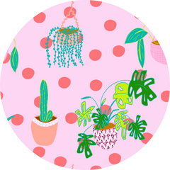 Plant Lovers Fabric Design Print, Pink background with indoor plants and peach spots
