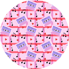 Mixtape fabric design, pink background with gingham stripes and purple mixtapes