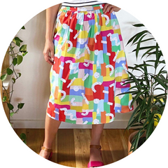 Ladies midi skirt in Speckled Rainbows Print