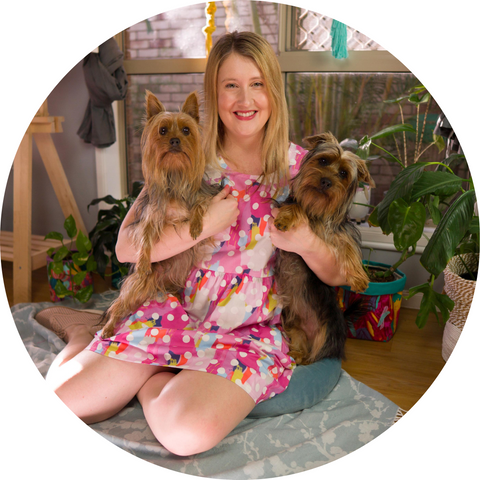 Maker with two silky terrier dogs