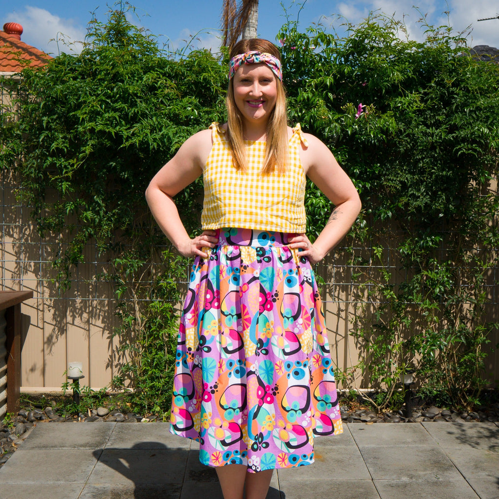 Atomic Jumble midi skirt with twist headband