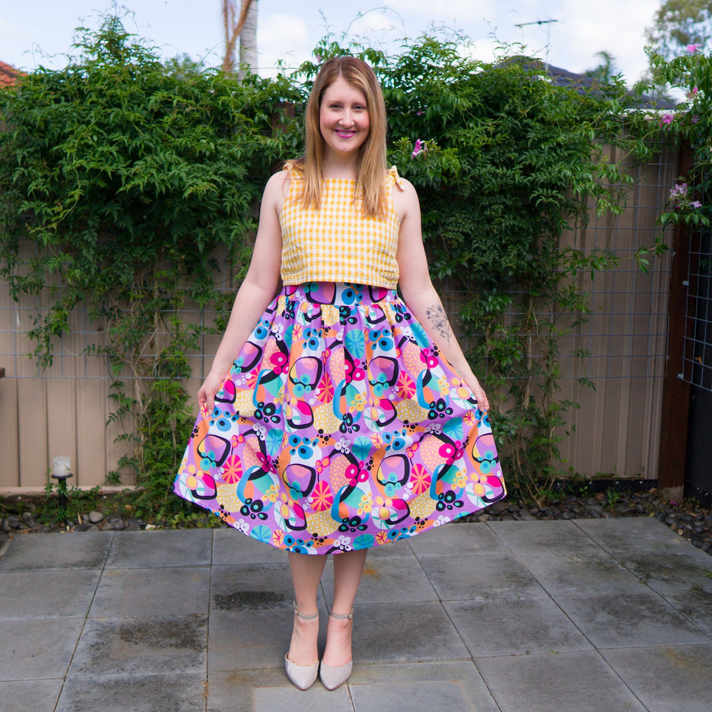 Ladies midi skirt and crop top in fabric designed by Kasey Rainbow