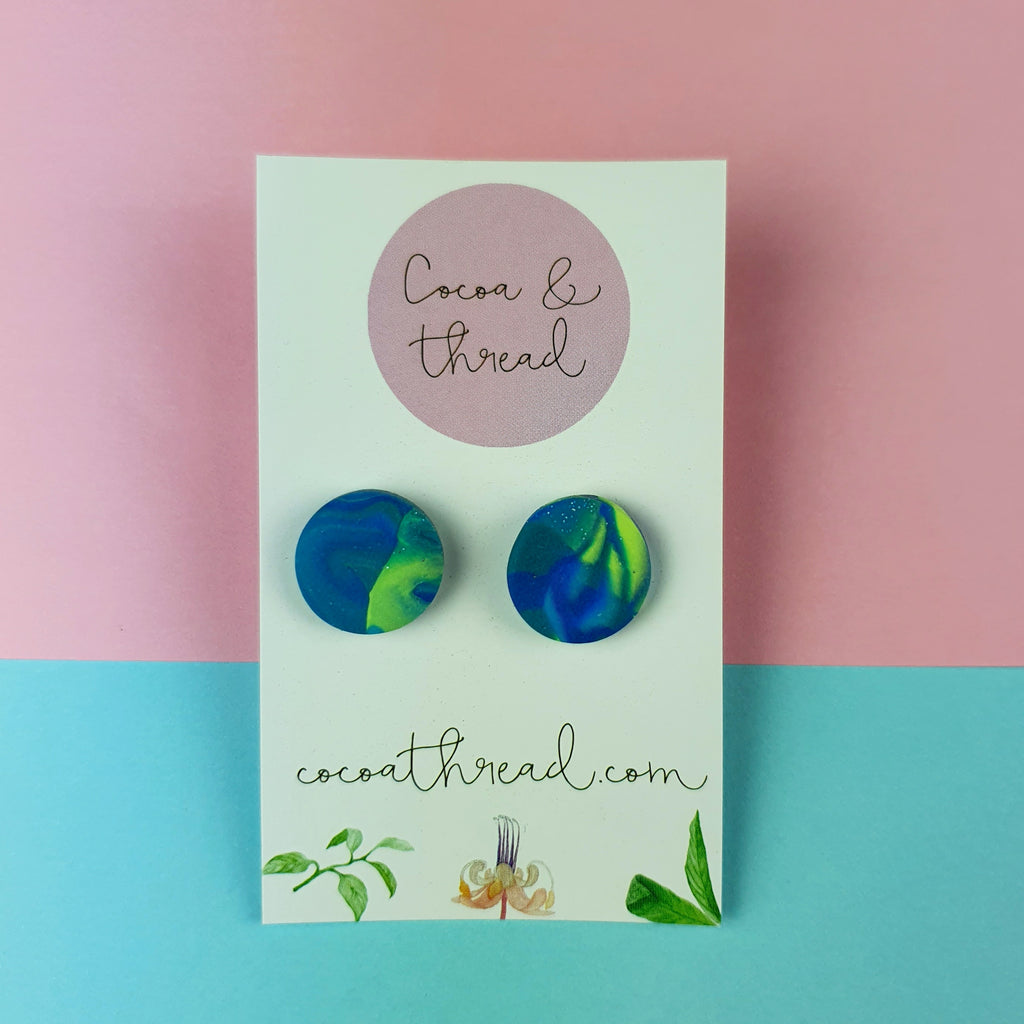 Aurora blue and green stud earrings