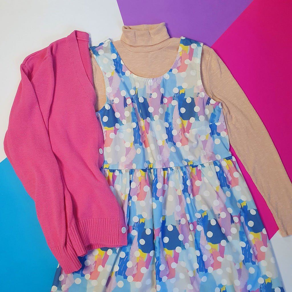 Blue dress with pink cardigan
