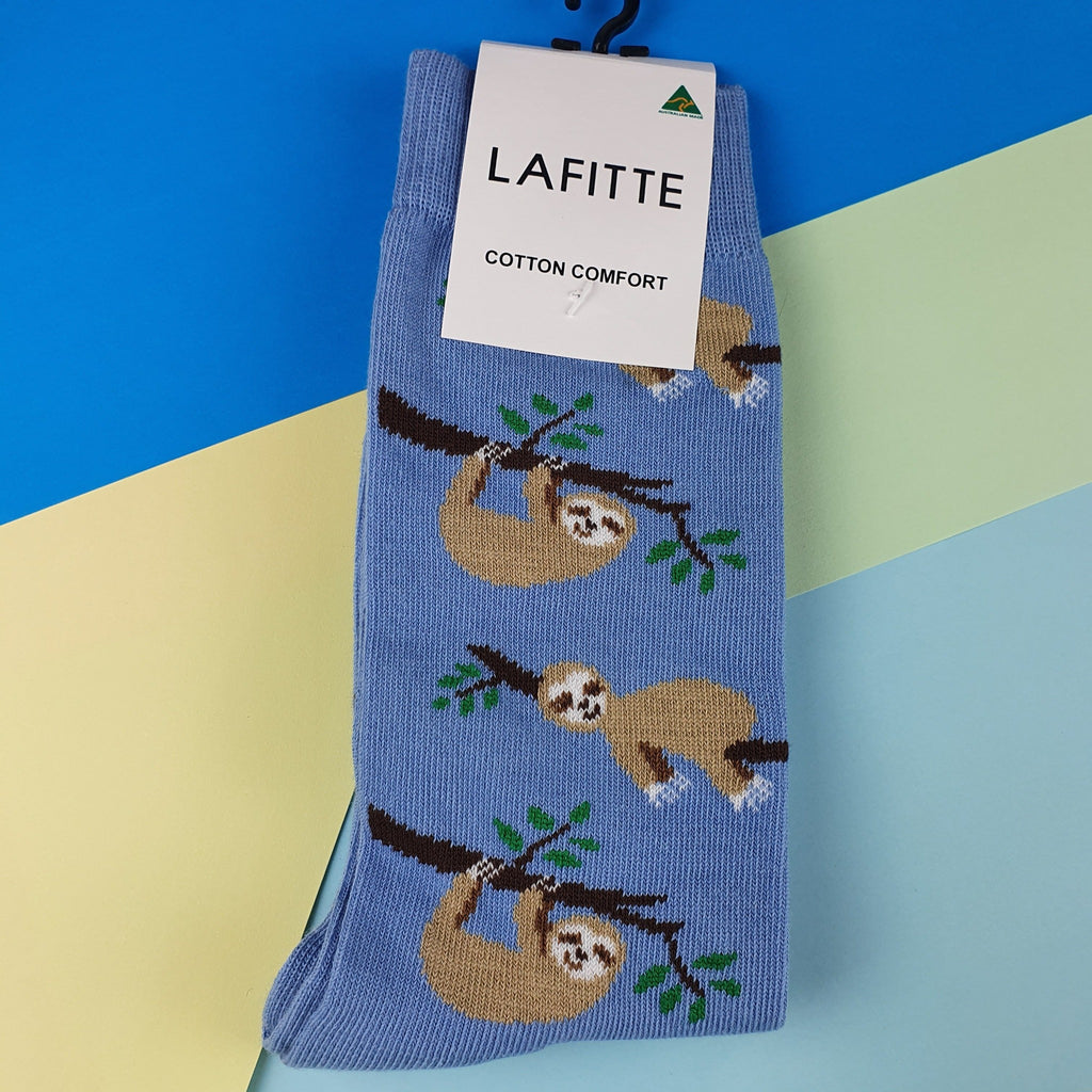 Blue sloth unisex socks