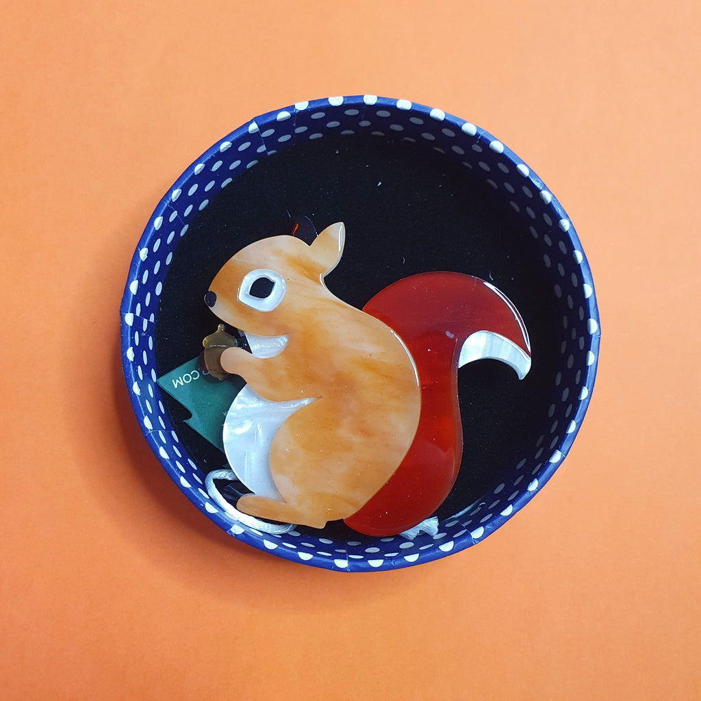 Bright Eyed and Bushy Tailed Squirrel Brooch Erstwilder Woodlands