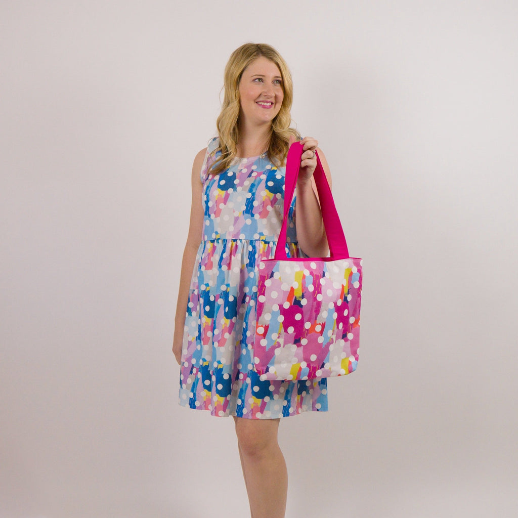 Canvas tote bag in pink, blue and mustard.  Makes an ideal book bag, shopping bag or overnight bag. Made in Australia.