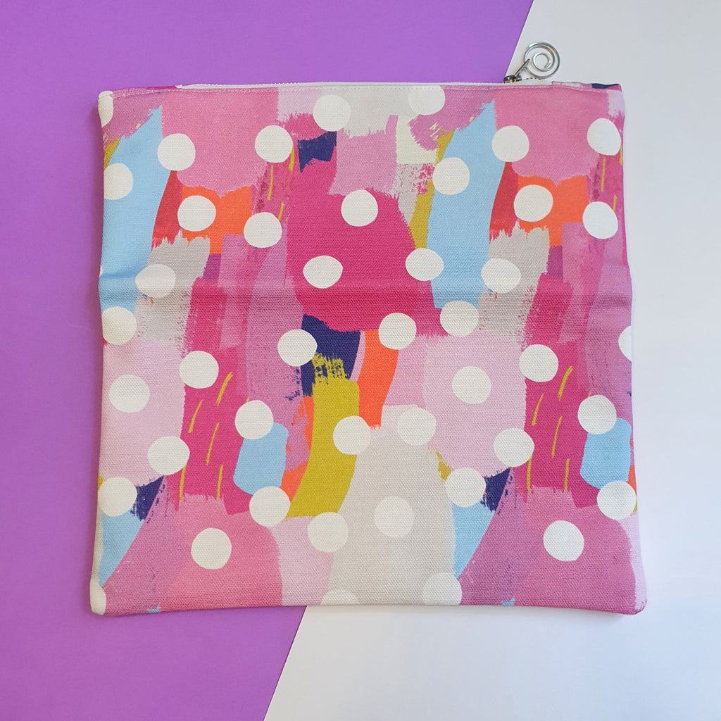 Clutch bag, makeup bag or going out bag.  Made from pink canvas fabric with polka dots.  Foldover style so perfect for iPad storage.