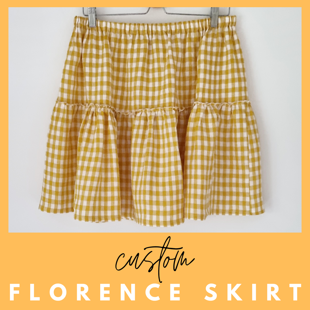 Ladies summer skirt in mustard gingham linen fabric