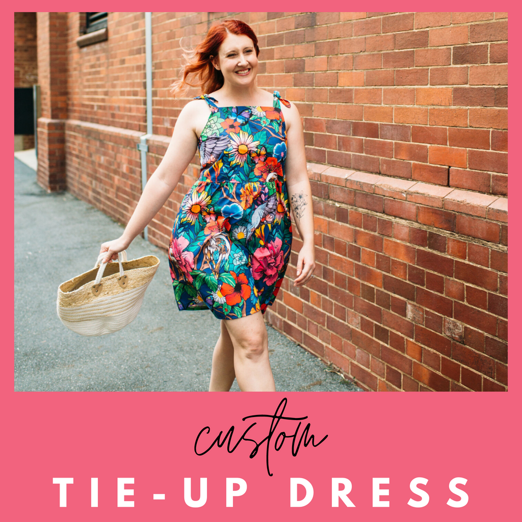 Custom tie up dress breastfeeding friendly in garden of my dreams print