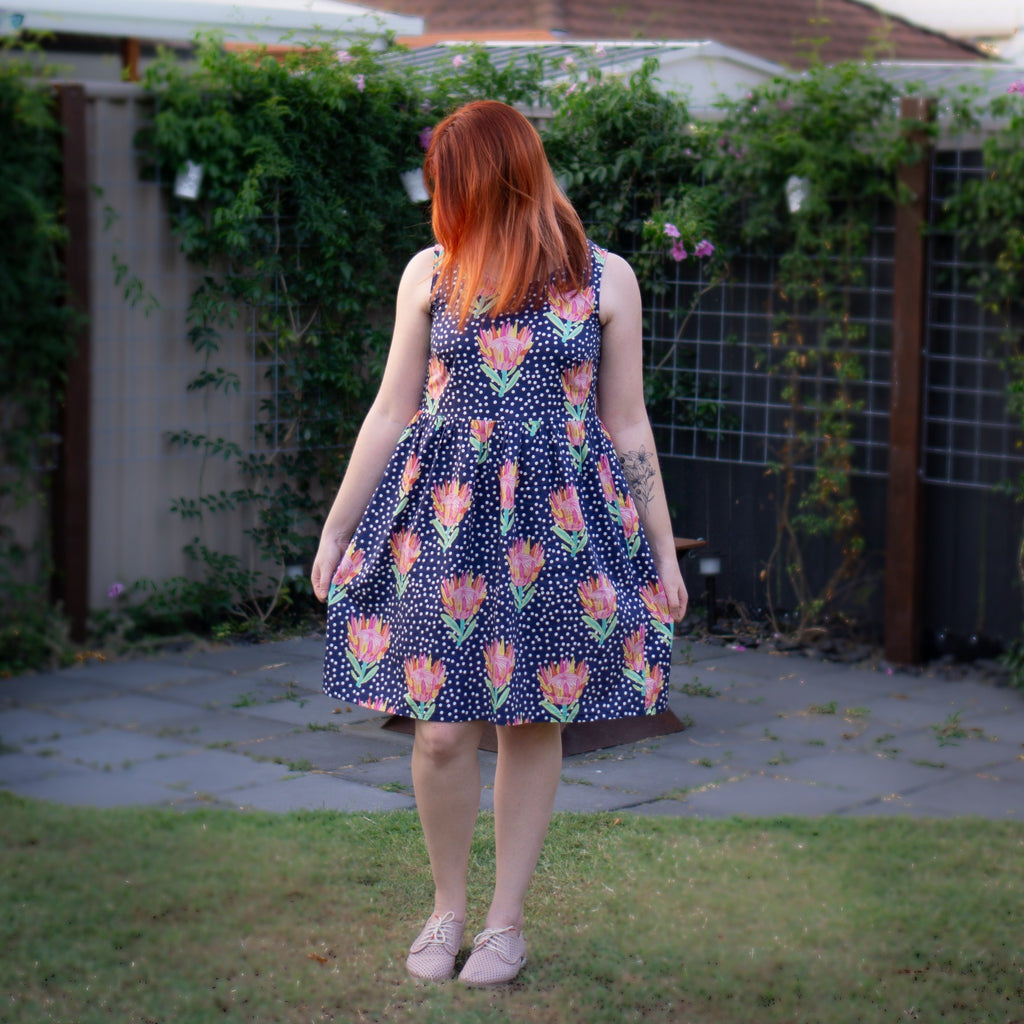 Sundress in Bue Protea Lovers Print