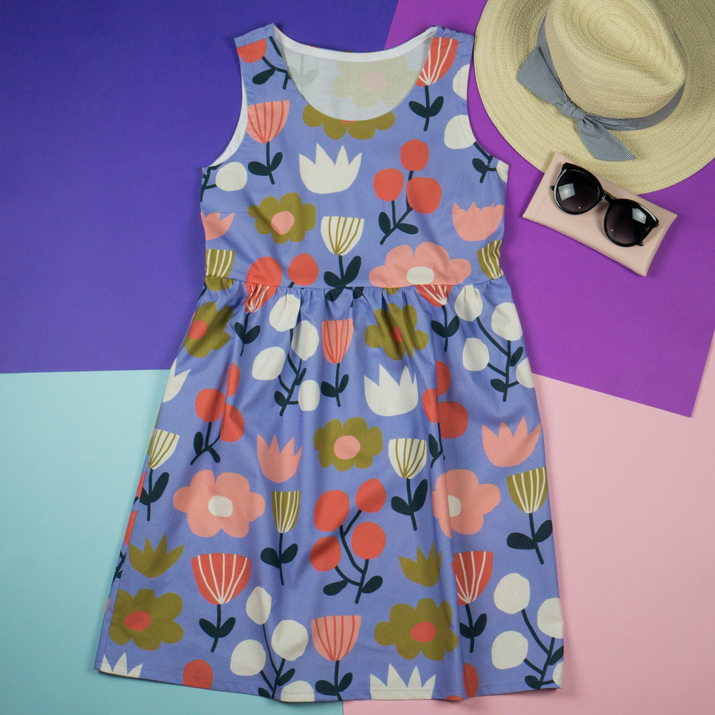Water flowers blue and floral sundress