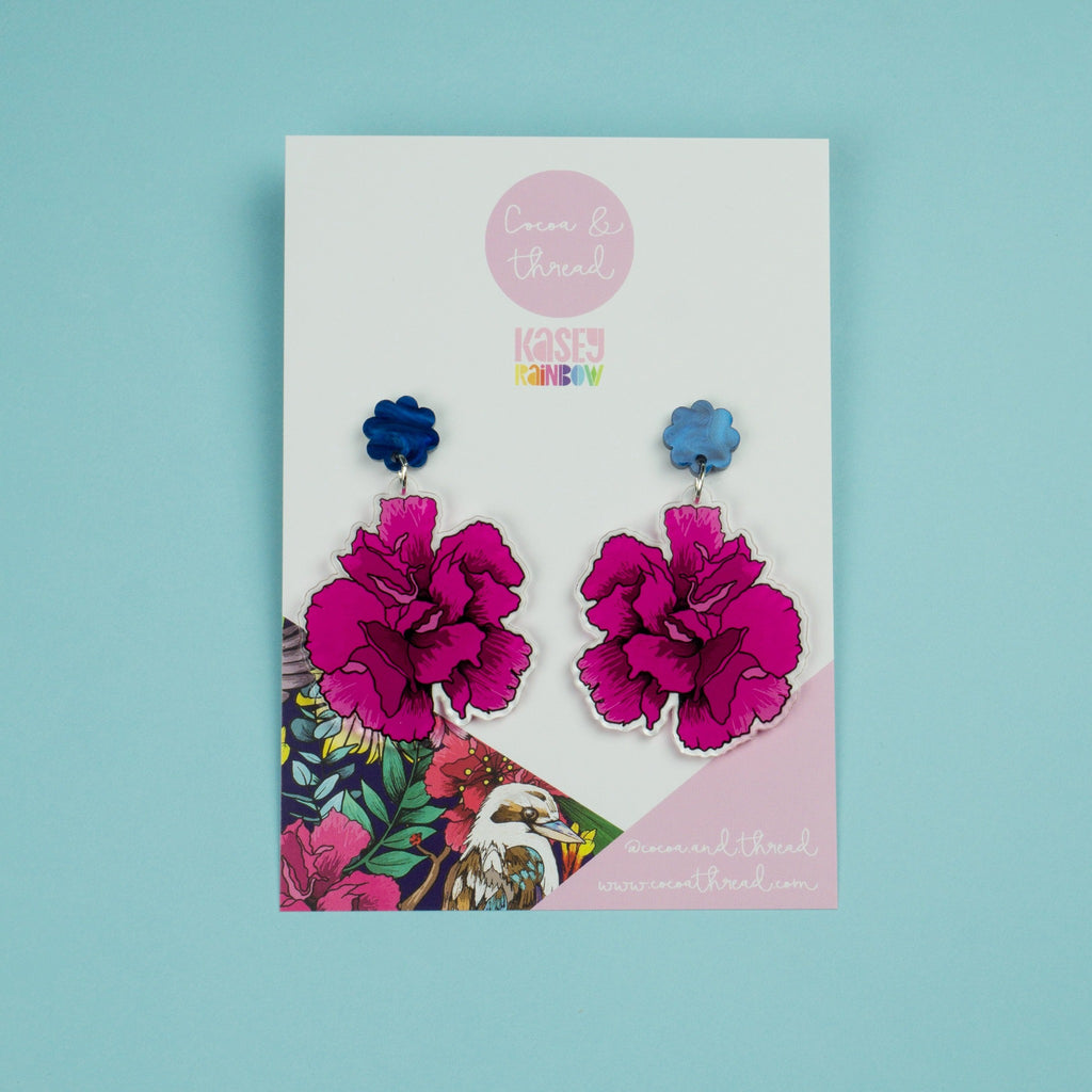 Dangle earrings flower pink